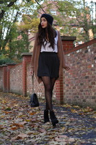 black asos boots - black asos hat - black Chanel bag - brown Topshop cardigan