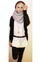 red hat - black cardigan - gray scarf - white blouse - black leggings - silver n
