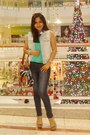 Navy-guess-jeans-green-mango-top-light-blue-gap-vest