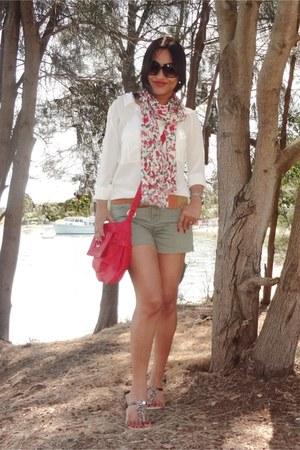white JCrew shirt - red coach bag - olive green Zara shorts