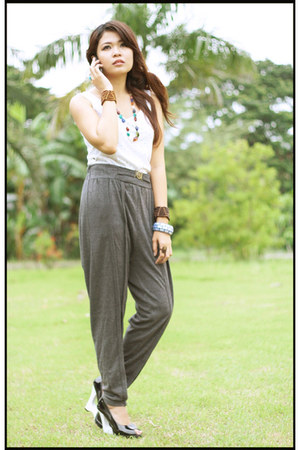 charcoal gray harem Shop My Demeanor pants - white Shop My Demenor top