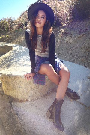 Minnetonka hat - Zara boots - Delacy dress - Wildfox necklace
