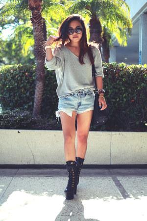 DIY sweater - black Jeffrey Campbell x Wildfox boots - black IVI sunglasses
