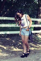platform Gee Wa Wa shoes - Levis shorts - diy cropped 2k by gingham t-shirt