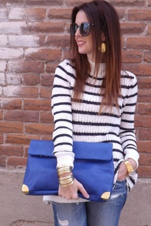stripes H&M sweater - leather Golden Lane bag - gold house of harlow earrings
