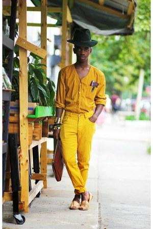 mustard thrifted top - dark green wool Stetson hat - dark brown leather bag