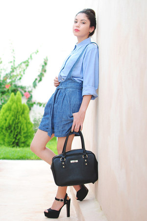 black Kenneth Cole bag - blue denim Forever 21 shorts