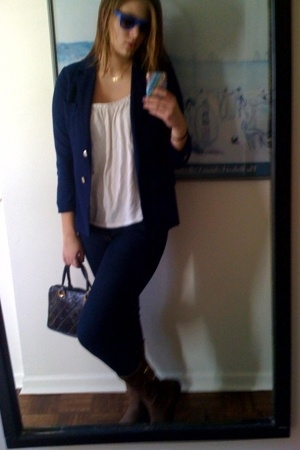 tudor square blazer - Old Navy top - Delias jeans - boots