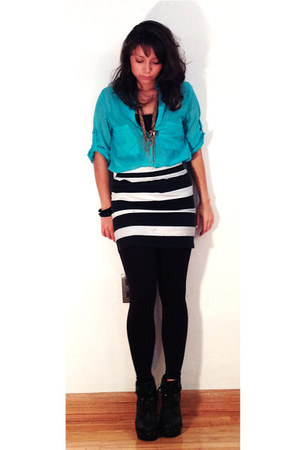 aquamarine shirt - black leggings - black skirt - white skirt