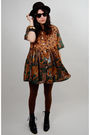 Black-rock-paper-vintage-dress-brown-cynthia-rowley-tights