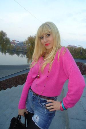 pink sweater - denim Bershka shorts