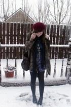 leopard print Topshop coat - wool vintage hat - urban renewal UO skirt - Topshop
