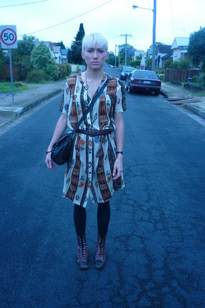 aztec print Ebay dress - leather vintage boots