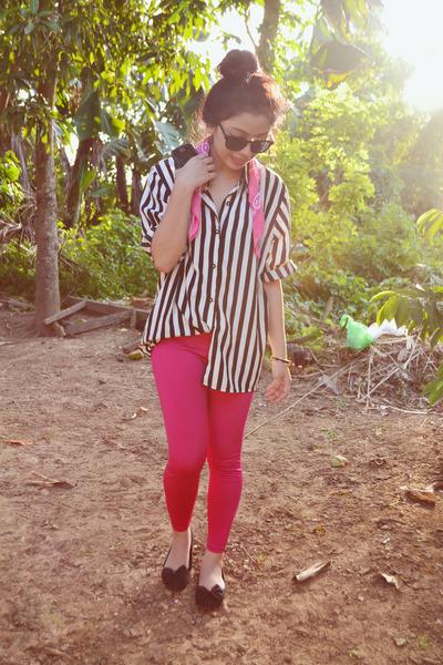 black stripes vintage top - hot pink colorful vintage leggings