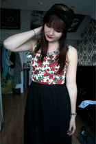 red bustier Atmosphere top - black skirt Atmosphere skirt