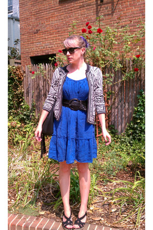 blue Gap dress - black balenciaga sunglasses - black banana republic cardigan