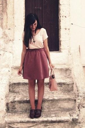 pink H&M dress - light pink vintage bag - dark brown max&co clogs