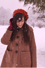 Light-brown-orla-kiely-coat-brick-red-nadinoo-dress