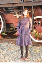 navy vintage 1950s coat - ruby red Clarks shoes - black Calzedonia tights