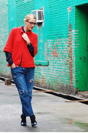 blue Current Elliot jeans - red sweater coat ADAM sweater