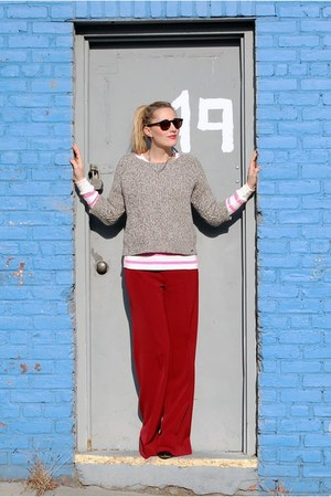 ruby red wide leg pants Zara pants - heather gray Denim & Supply sweater