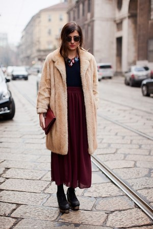 peach fur coat - brick red clutch Prada accessories - maroon long skirt - black 
