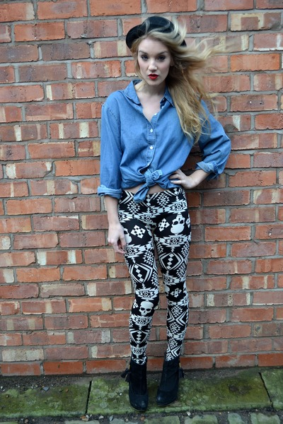 blue denim shirt vintage shirt - black Primark boots - black bowler hat H&amp;M hat