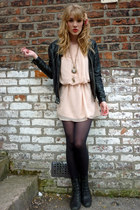 peach chiffon Love dress - black lace-up Ebay boots