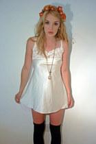 cream lace nightie thrifted vintage dress - black over the knee F&F socks - oran
