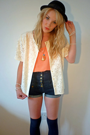 black bowler H&amp;M hat - cream lace thrifted jacket - navy Topshop shorts - navy P
