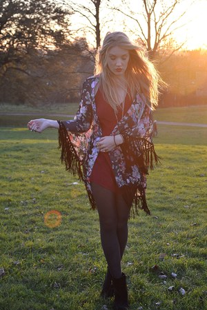 black The Pokey Hat jacket - black Primark boots - maroon Motel Rocks romper