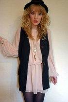 peach chiffon Love dress - black bowler H&M hat - black waistcoat vintage blazer