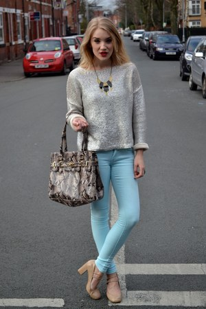 beige snake print bag dune bag - light blue FM Boutique jeans