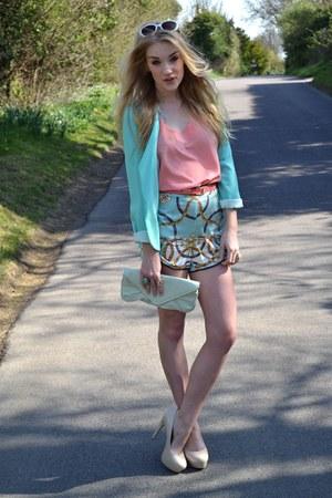aquamarine Primark blazer - light blue Glamorous shorts - neutral bank heels