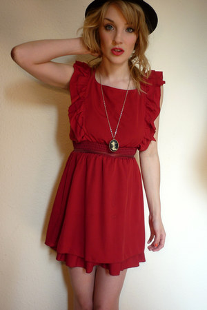ruby red red Lovestruck dress - black bowler H&M hat - black cameo handmade neck