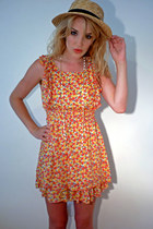 red floral chiffon Lovestruck dress - light brown straw boater Ebay hat - gold t