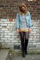 black lace-up Ebay boots - light blue denim Primark jacket - gold sequinned thri
