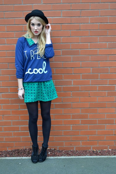 green Lovestruck dress - black bowler hat H&M hat - navy Only jumper