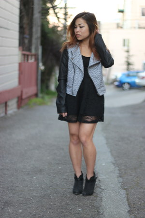 rag & bone boots - lace dress H&M dress - Sound & Matter jacket