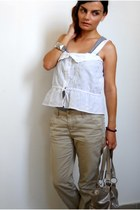 white vintage top - Stradivarius bag - eggshell H&M pants