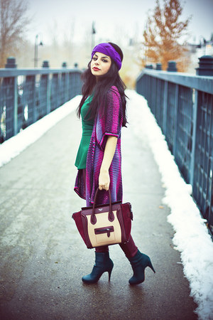 maroon Celine bag - teal H&amp;M boots - maroon faux leather H&amp;M pants