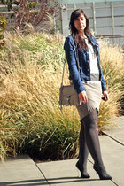 blue robyn denim AG Jeans jacket - heather gray torrent Helmut Lang dress