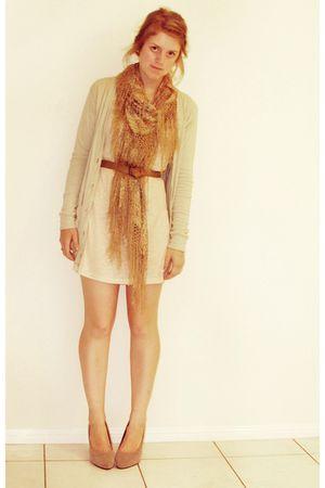 beige supre cardigan - pink cotton on dress - op shopp scarf - vintage belt - gr