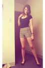 Shirt-forever21-shorts-black-sequin-mossimo-flats-fossil-watch