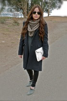 charcoal gray wool banana republic coat - heather gray booties Guess boots