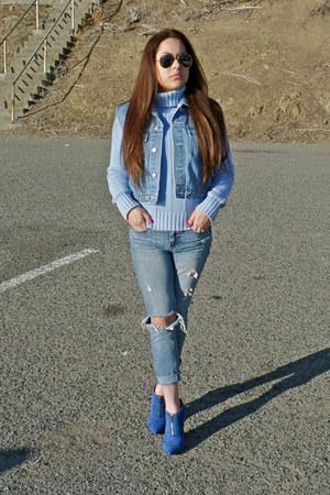 blue ankle boots Aldo boots - boyfriend jeans jeans