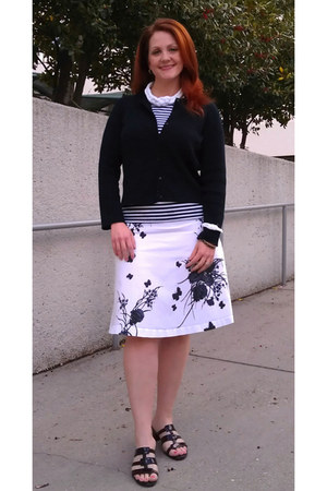 black thrifted cardigan - white floral chadwicks skirt