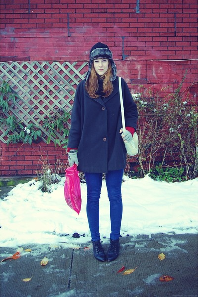 joe fresh style hat - Urban Outfitters jeans - Shellys London boots - forest gre