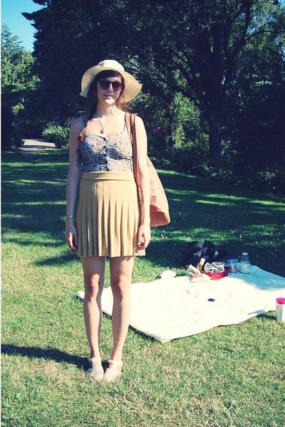 olive green APC skirt - dark brown vintage bag - blue modcloth top
