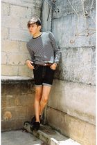 black Levis shorts - black Zara shoes - gray Sisley sweater - orange DIY belt